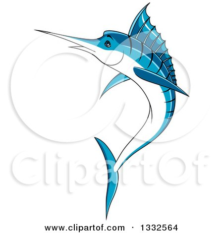 Clipart of a Cartoon Leaping Blue Marlin Fish - Royalty Free Vector Illustration by Vector Tradition SM
