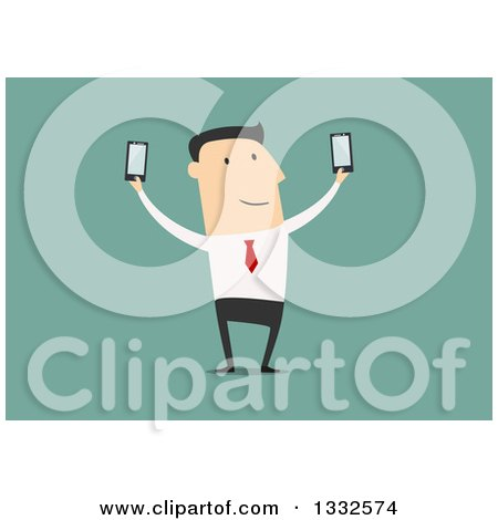 Clipart of a Flat Design White Business Man Holding up Two Smart Phones, on Green - Royalty Free Vector Illustration by Vector Tradition SM
