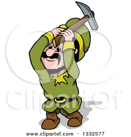 Clipart of a Cartoon Miner Gnome Swinging a Pickaxe - Royalty Free Vector Illustration by dero