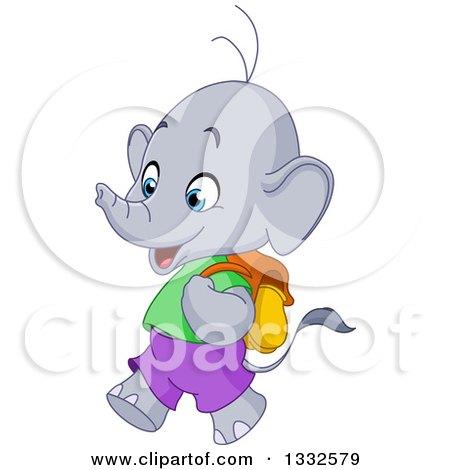 Clipart of a Cartoon Cute Happy Student Elephant Walking to School - Royalty Free Vector Illustration by yayayoyo