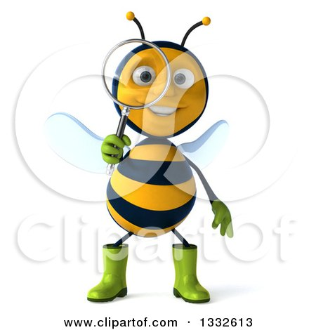 Clipart of a 3d Happy Gardener Bee Searching with a Magnifying Glass - Royalty Free Illustration by Julos