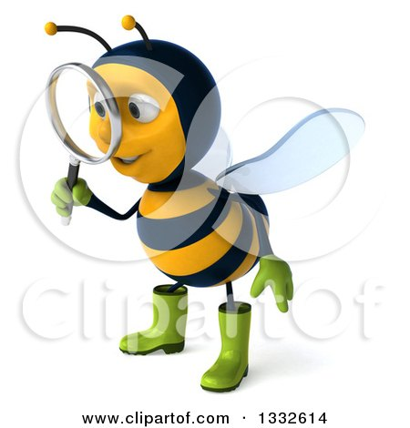 Clipart of a 3d Happy Gardener Bee Facing Slightly Left and Searching with a Magnifying Glass - Royalty Free Illustration by Julos