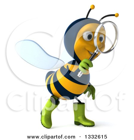Clipart of a 3d Happy Gardener Bee Walking to the Right and Searching with a Magnifying Glass - Royalty Free Illustration by Julos