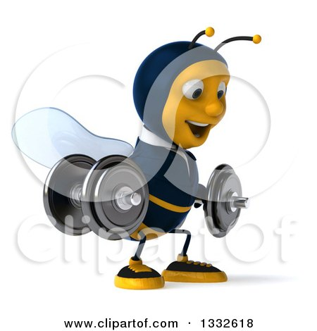 Clipart of a 3d Business Bee Wearing Sunglasses, Facing Slightly Right, Doing Squats and Working out with Dumbbells - Royalty Free Illustration by Julos