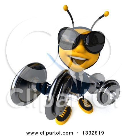 Clipart of a 3d Business Bee Wearing Sunglasses, Looking up and Working out with Dumbbells - Royalty Free Illustration by Julos