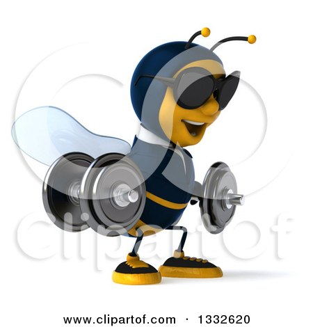 Clipart of a 3d Business Bee Wearing Sunglasses, Facing Slightly Right, Doing Squats with Dumbbells - Royalty Free Illustration by Julos