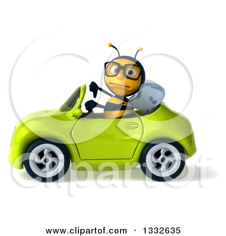 Clipart of a 3d Bespectacled Bee Giving a Thumb down and Driving a Green Convertible Car 3 - Royalty Free Illustration by Julos