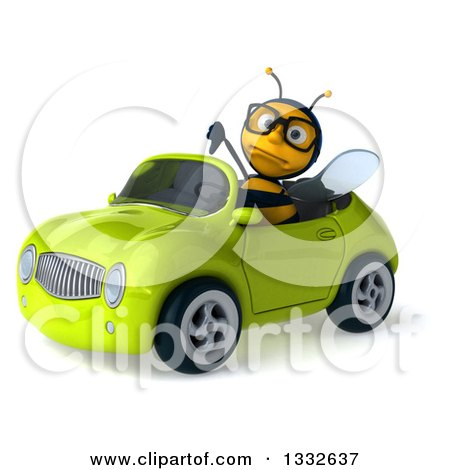 Clipart of a 3d Bespectacled Bee Giving a Thumb down and Driving a Green Convertible Car 2 - Royalty Free Illustration by Julos