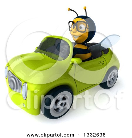 Clipart of a 3d Bespectacled Bee Driving a Green Convertible Car 2 - Royalty Free Illustration by Julos
