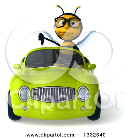Clipart of a 3d Bespectacled Bee Giving a Thumb down and Driving a Green Convertible Car - Royalty Free Illustration by Julos