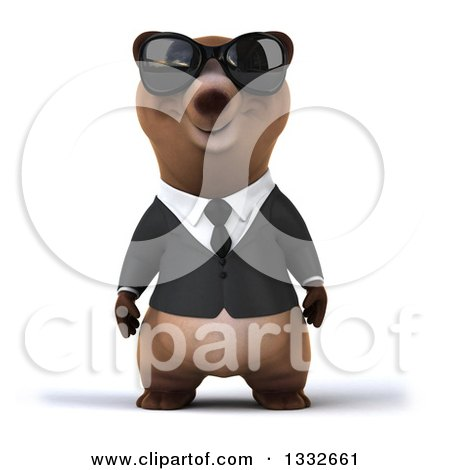 Clipart of a 3d Brown Business Bear Wearing Sunglasses - Royalty Free Illustration by Julos