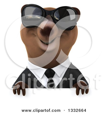 Clipart of a 3d Brown Business Bear Wearing Sunglasses over a Sign - Royalty Free Illustration by Julos