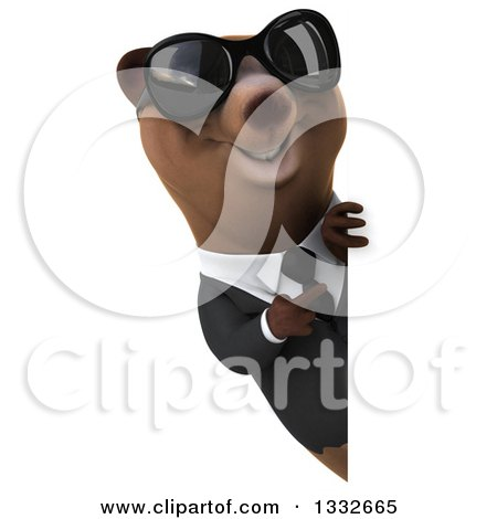 Clipart of a 3d Brown Business Bear Wearing Sunglasses and Pointing Around a Sign - Royalty Free Illustration by Julos