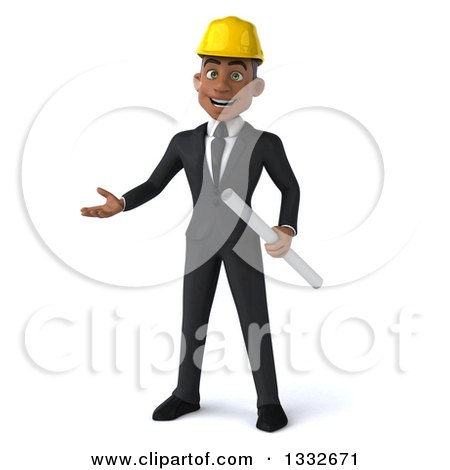 Clipart of a 3d Young Black Male Architect Holding Plans and Presenting - Royalty Free Illustration by Julos