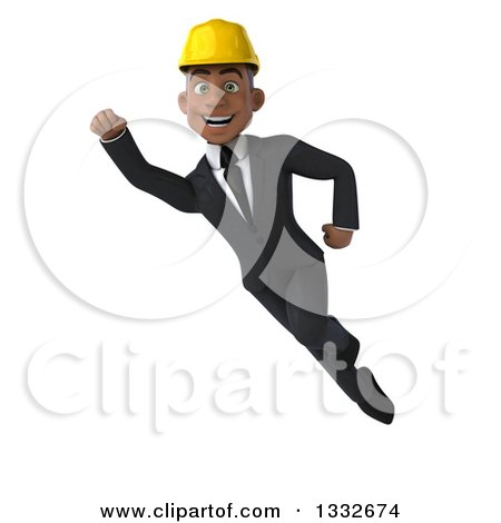 Clipart of a 3d Young Black Male Architect Flying 2 - Royalty Free Illustration by Julos