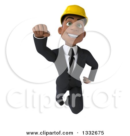 Clipart of a 3d Young Black Male Architect Flying - Royalty Free Illustration by Julos
