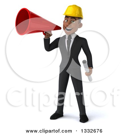 Clipart of a 3d Young Black Male Architect Holding Plans and Announcing with a Megaphone - Royalty Free Illustration by Julos