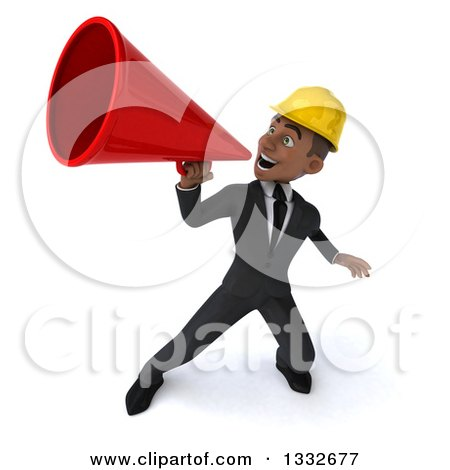 Clipart of a 3d Young Black Male Architect Announcing Upwards to the Left with a Megaphone - Royalty Free Illustration by Julos