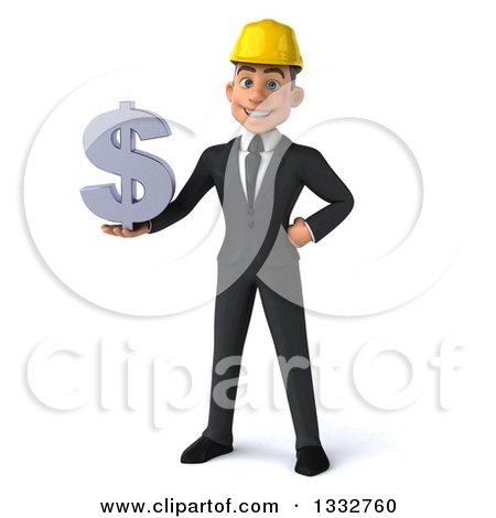 Clipart of a 3d Young White Male Architect Holding a Dollar Symbol - Royalty Free Illustration by Julos
