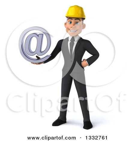 Clipart of a 3d Young White Male Architect Holding an Email Arobase at Symbol - Royalty Free Illustration by Julos