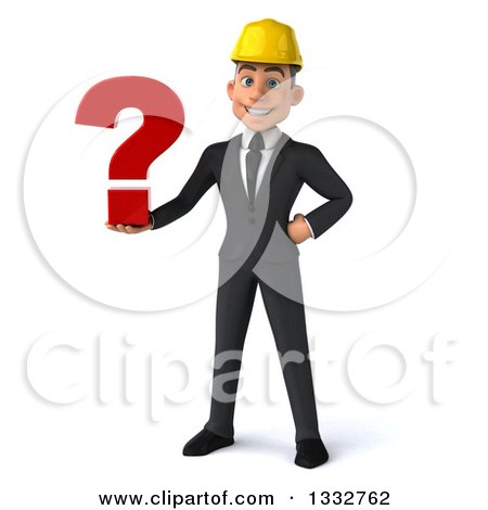 Clipart of a 3d Young White Male Architect Holding a Question Mark - Royalty Free Illustration by Julos