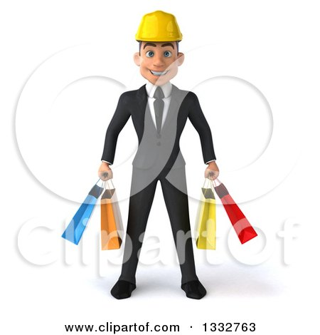 Clipart of a 3d Young White Male Architect Holding Shopping Bags - Royalty Free Illustration by Julos