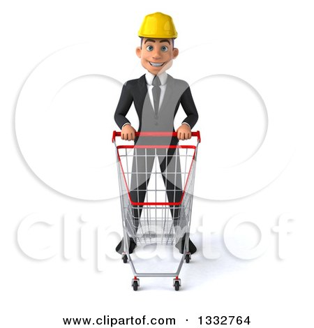 Clipart of a 3d Young White Male Architect Standing with a Shopping Cart - Royalty Free Illustration by Julos
