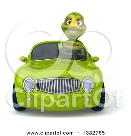 Clipart of a 3d Tortoise Driving a Green Convertible Car - Royalty Free Illustration by Julos