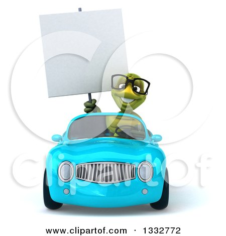 Clipart of a 3d Bespectacled Tortoise Holding a Blank Sign and Driving a Blue Convertible Car - Royalty Free Illustration by Julos