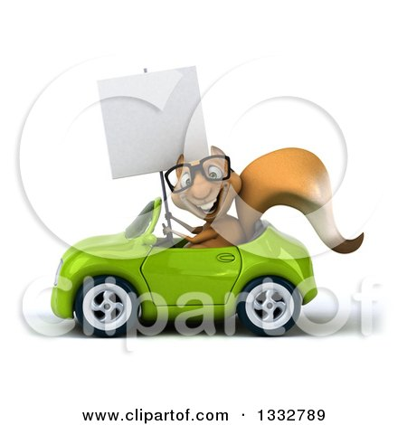 Clipart of a 3d Bespectacled Squirrel Holding a Blank Sign and Driving a Green Convertible Car - Royalty Free Illustration by Julos
