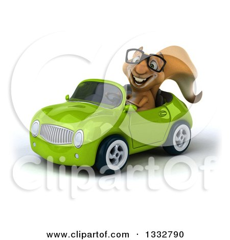 Clipart of a 3d Bespectacled Squirrel Driving a Green Convertible Car - Royalty Free Illustration by Julos