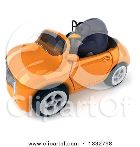 Clipart of a 3d Bespectacled Penguin Driving an Orange Convertible Car 3 - Royalty Free Illustration by Julos