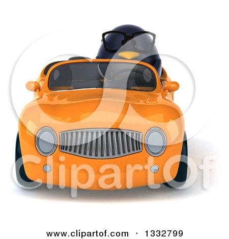 Clipart of a 3d Bespectacled Penguin Driving an Orange Convertible Car - Royalty Free Illustration by Julos