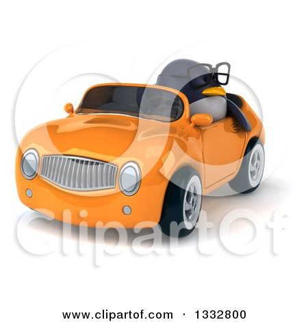 Clipart of a 3d Bespectacled Penguin Driving an Orange Convertible Car 2 - Royalty Free Illustration by Julos