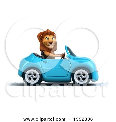 Clipart of a 3d Male Lion Driving a Blue Convertible Car 2 - Royalty Free Illustration by Julos