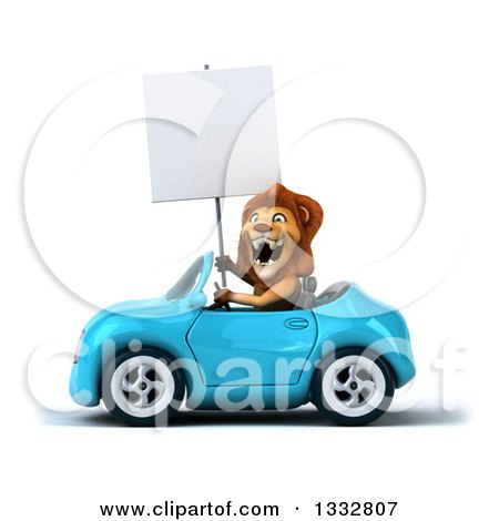 Clipart of a 3d Male Lion Driving a Blue Convertible Car and Holding a Blank Sign - Royalty Free Illustration by Julos