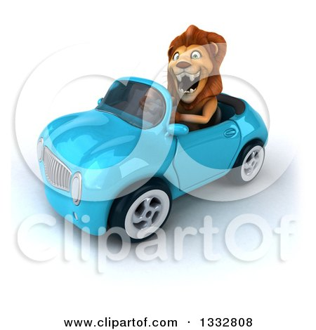 Clipart of a 3d Male Lion Roaring and Driving a Blue Convertible Car - Royalty Free Illustration by Julos