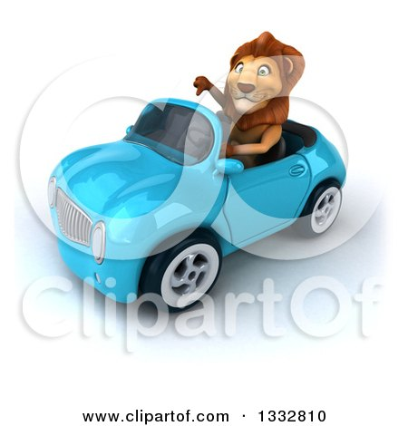 Clipart of a 3d Male Lion Giving a Thumb down and Driving a Blue Convertible Car - Royalty Free Illustration by Julos
