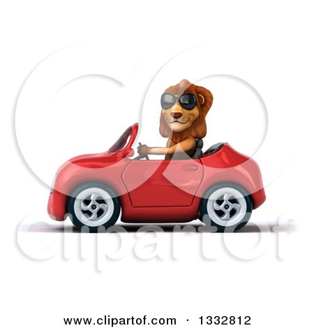 Clipart of a 3d Male Lion Wearing Sunglasses and Driving a Red Convertible Car 2 - Royalty Free Illustration by Julos