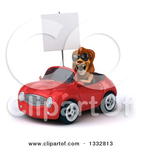 Clipart of a 3d Male Lion Wearing Sunglasses and Driving a Red Convertible Car and Holding a Blank Sign - Royalty Free Illustration by Julos
