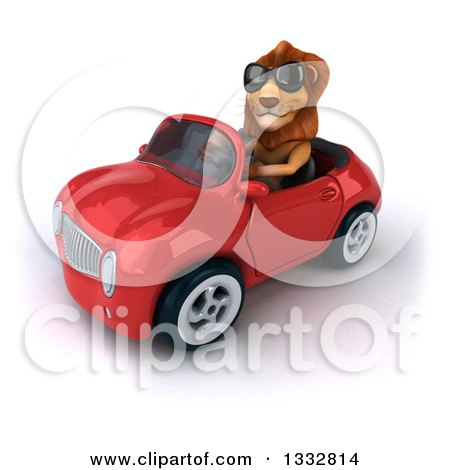 Clipart of a 3d Male Lion Wearing Sunglasses and Driving a Red Convertible Car 3 - Royalty Free Illustration by Julos