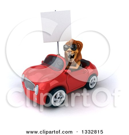 Clipart of a 3d Male Lion Wearing Sunglasses and Driving a Red Convertible Car and Holding a Blank Sign 2 - Royalty Free Illustration by Julos