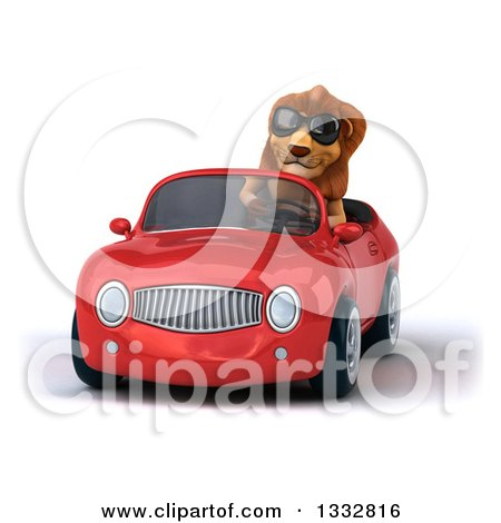 Clipart of a 3d Male Lion Wearing Sunglasses and Driving a Red Convertible Car - Royalty Free Illustration by Julos