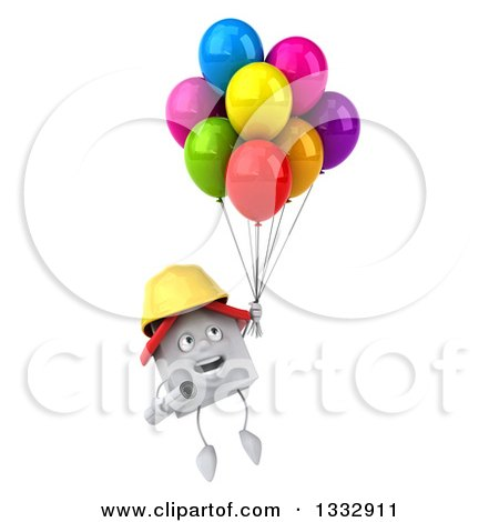 Clipart of a 3d Happy White House Contractor Character Floating with Party Balloons - Royalty Free Illustration by Julos