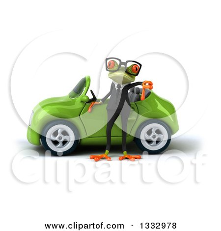 Clipart of a 3d Bespectacled Green Business Springer Frog Giving a Thumb down by a Green Convertible Car - Royalty Free Illustration by Julos