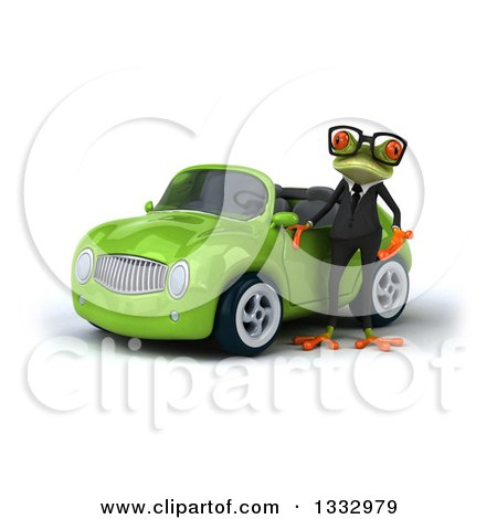 Clipart of a 3d Bespectacled Green Business Springer Frog Presenting a Green Convertible Car - Royalty Free Illustration by Julos