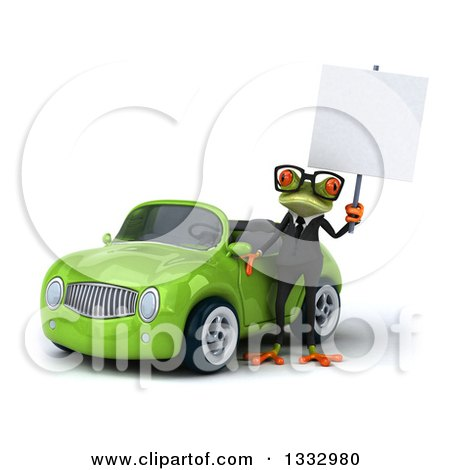Clipart of a 3d Bespectacled Green Business Springer Frog Holding a Blank Sign by a Green Convertible Car - Royalty Free Illustration by Julos