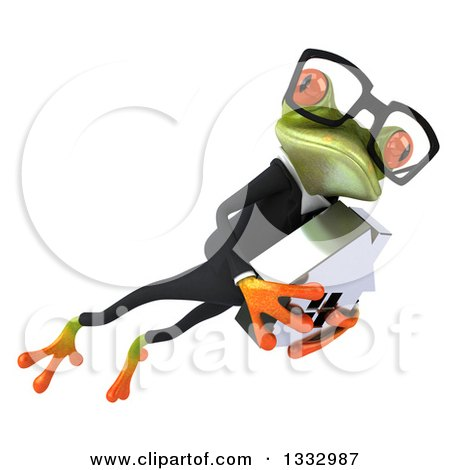 Clipart of a 3d Bespectacled Green Business Frog Leaping to the Right and Holding a House 2 - Royalty Free Illustration by Julos