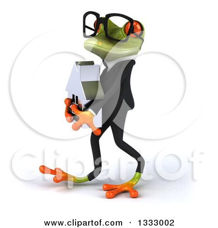 Clipart of a 3d Bespectacled Green Business Frog Walking to the Left and Holding a House - Royalty Free Illustration by Julos