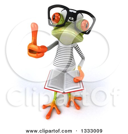 Clipart of a 3d Bespectacled Green Springer Frog Sailor Holding up a Thumb and an Open Book - Royalty Free Illustration by Julos